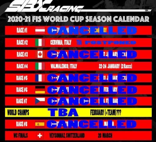 So sieht der aktuelle Weltcupkalender für die Snowboardcrosser aus.