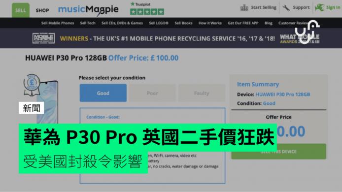 外媒:華為 P30 Pro 英國二手價跌至一折 受美國封殺令影響 - 香港 unwire.hk