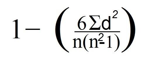 Spearman формуласы.