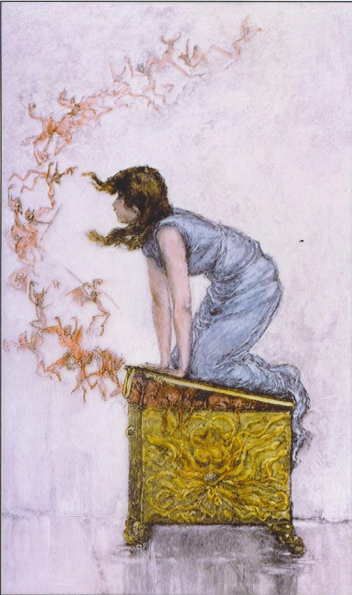 """""""Pandora yrittää sulkea laatikko"""", kirjailija Frederick Stewart Church (1842-1924)"""