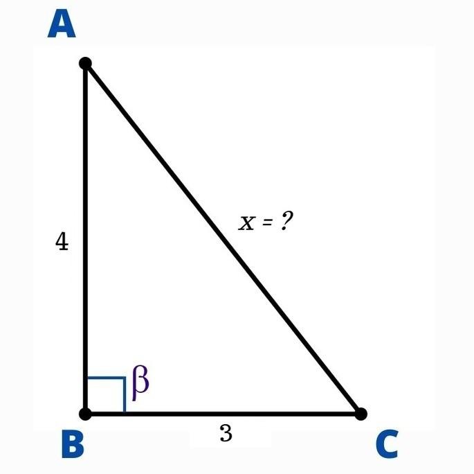 ABC үшбұрышы: айнымалы гипотенуза тікелей бұрышқа қарсы тұрады β, bc = 3CM және AB = 4CM