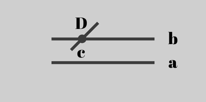 прямая, пересекающая одну параллельную прямую, обязательно пересечёт и другую