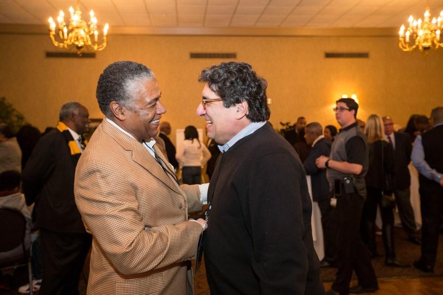 Godfrey Dillard (left) and Chancellor Nicholas S. Zeppos