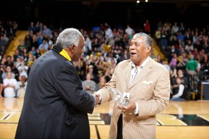 Vice Chancellor David Williams (left) and Godfrey Dillard
