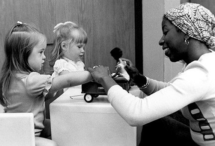 The Toddler Research and Intervention Project developed by Diane Bricker, PhD'70, devised and evaluated aspects of educational intervention with children ages 1–4 who had moderate to severe developmental problems. Photo from the 1970s.