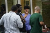 Faculty and staff enjoy fellowship and food during the Juneteenth Cookout at the Black Cultural Center. (John Russell/Vanderbilt University)
