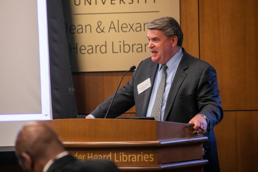 Vice Provost for University Enrollment Affairs, and Dean of Admissions and Financial Aid Douglas Christiansen, who oversees the program, spoke at the Posse 30th anniversary event. (Anne Rayner/Vanderbilt)