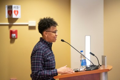 Associate Director of the Bishop Joseph Johnson Black Cultural Center Nicole Malveaux speaking at the MLK Commemorative Series Kickoff event. (Vanderbilt University/Joe Howell)