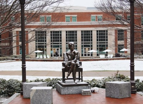 Martha River Ingram statue in the snow, from @emhugan
