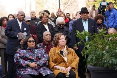 Perry Wallace Way dedication ceremony (l to r) Gabrielle Wallace, Karen Wallace (John Russell/Vanderbilt)