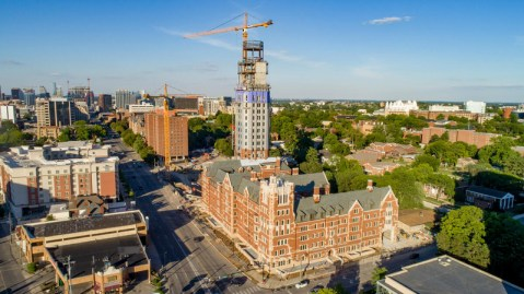 Drone aerials of Nicholas S. Zeppos College at West End and 25th Avenue (Vanderbilt University photos)