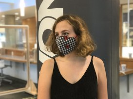 Clara McMillan shows off her mask.