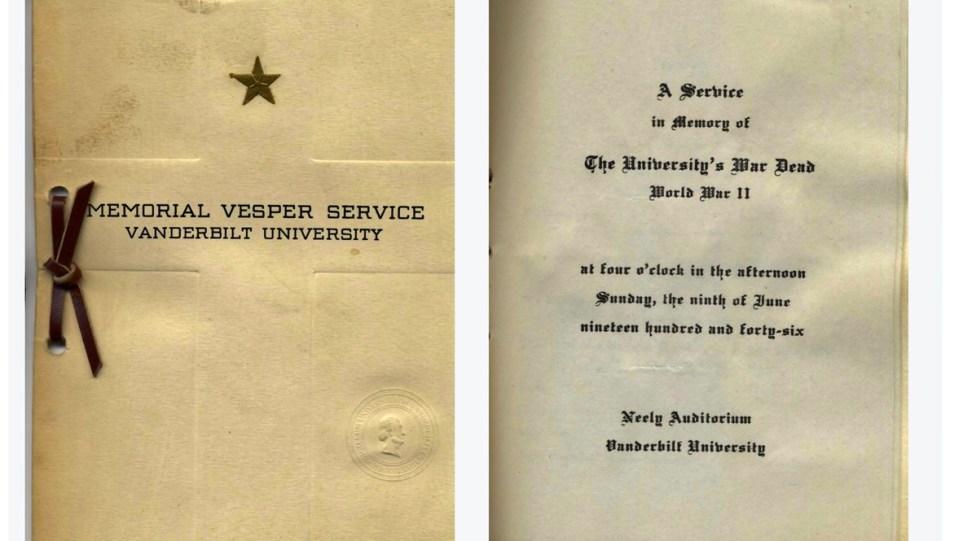 Students examined archival documents, such as this 1946 Vesper Service program honoring Vanderbilt students killed in World War II. June 9, 1946 (Vanderbilt Archives)
