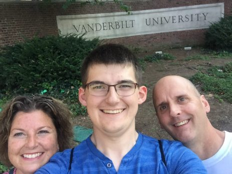 Clark and his parents during their first visit to Vanderbilt.