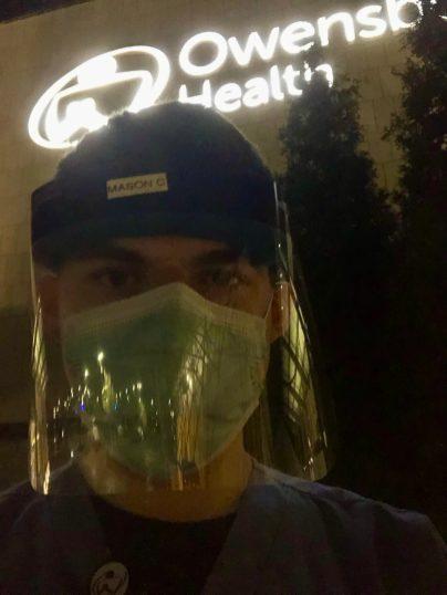 Clark taking a break outside the Owensboro, Kentucky, emergency room where he volunteered.
