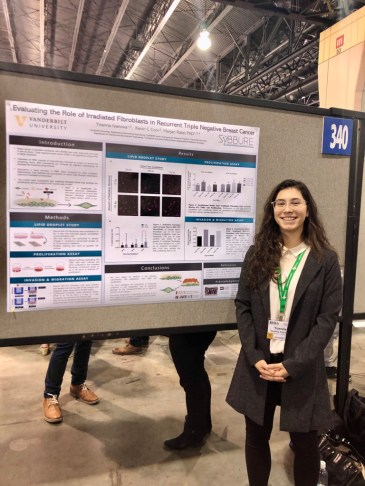 Ivanova presents her research collaboration on the role of irradiated fibroblasts in recurrent triple-negative breast cancer. (Submitted photos)