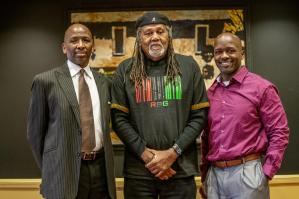 Raymond Winbush, center, was the first director of the Bishop Joseph Johnson Black Cultural Center. He delivered the Legacy Pioneer Lecture with Rosevelt Noble, right, and Frank Dobson.