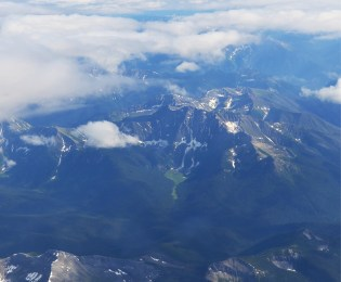 aerial photo of Canadian mountains