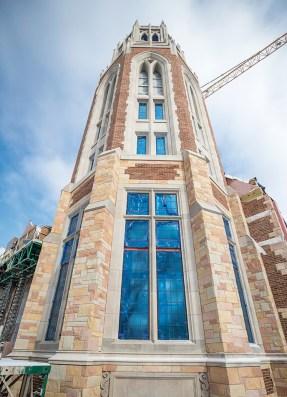 The Collegiate Gothic tower under construction at E. Bronson Ingram College, where Vanderbilt and Barnard halls once stood (JOHN RUSSELL)