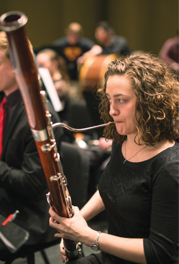 Brigit performs with the Vanderbilt Symphony Orchestra. She typically practices two and a half to three hours a day in addition to attending rehearsals for the orchestra and the woodwind quintet with which she plays. She also takes Keyboard Harmony, participates in a bassoon performance class with others in the bassoon studio, and takes courses in musicianship, music theory and music literature.