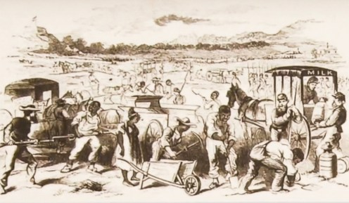 historical illustration of African Americans being impressed as laborers for the fort