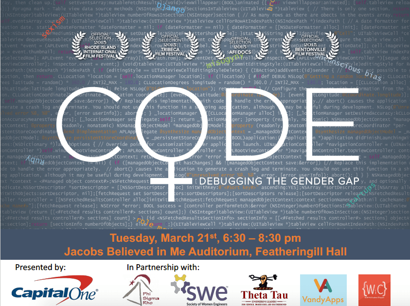 Screening of the documentary CODE: Debugging the Gender Gap, presentd by Capital One and in parternship with WiC and other Vanderbilt student organizations.