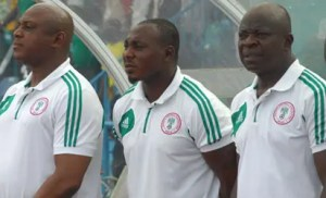 Coach Stephen Keshi, Daniel Amokachi and Sylvanus Okpala during the Nations cup quilifier match between Super Eagles of Nigeria and Rwanda National team at Calabar. Photo by Sylva Eleanya. 16/6/2012