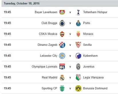 UEFA champions league fixtures - Vanguard News