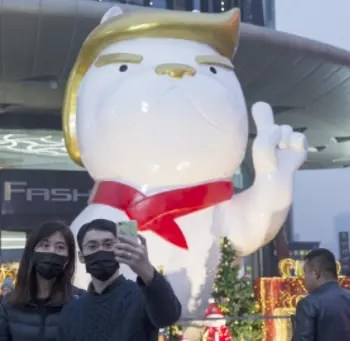 Image result for trump china statue