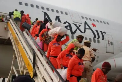 Image result for images of 158 Nigerians evacuated from Libya