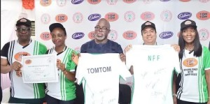 L-R: Director, Corporate and Government Affairs, West Africa, Cadbury, Mr. Bala Yesufu; Category Marketing Lead, West Africa, Cadbury, Mrs. Chidinma Uwadiae; President, Nigeria Football Federation (NFF), Mr. Amaju Pinnick and Managing Director, West Africa, Cadbury, Mr. Amir Shamsi at the Cadbury/NFF partnership unveiling TOMTOM as the official candy of the Super Eagles in Lagos.