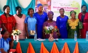 •EMPOEWRMENT: From left: Mrs Bola Thompson, leader, AIDS Prevention Initiative Nigeria, Mrs Oguntola Oluremi, Miss Busola Falokun, FRAAC Programme Oficer, Mrs Balikis(representative of Commissioner of Health, Chief Moteniola Faleti (SWAAN), Mrs Wemimo Ronke Oni, Founder, Chief Yemi Olukoya, Ex-S/W Coordinator, CiSHAN and Dr and Mrs Saul Adeleke, at the event.