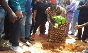 •HRH Igwe Reginald Chukwu performing flagging-off the tree- planting campaign at Okpanku.