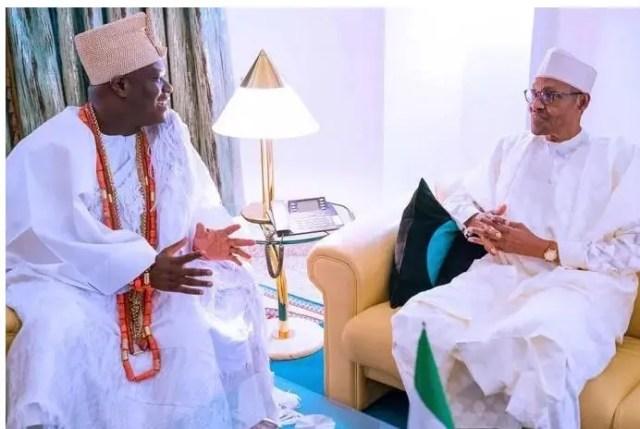 President Buhari receives in audience Ooni of Ife Imperial majesty Oba Adeyeye Ogunwusi Ojaja II at the State House on 18th July 2019.