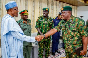 President Buhari receives Service Chiefs in Salah