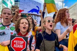 Australian school pupils on a strike to protest inaction by leaders on Climate Change. Photo: ABC News