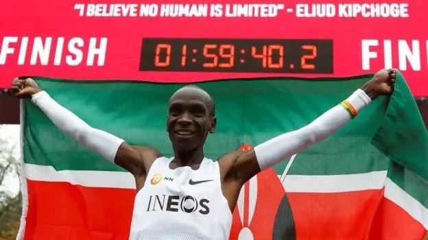 Kenyan athlete breaks two-hour marathon mark by 20 seconds