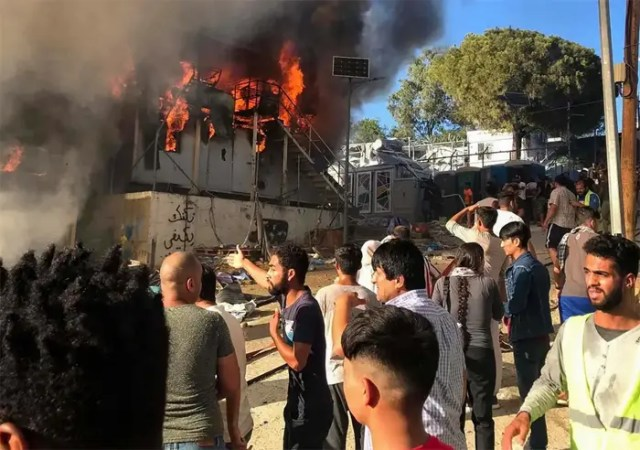 Violence erupts in overcrowded migrant camp on Greek island