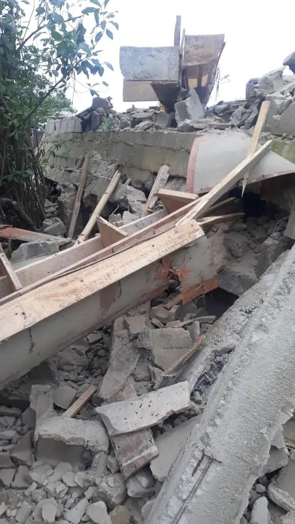 Tears Flow As 2-storey building under construction collapses, kills landlord in Lagos
