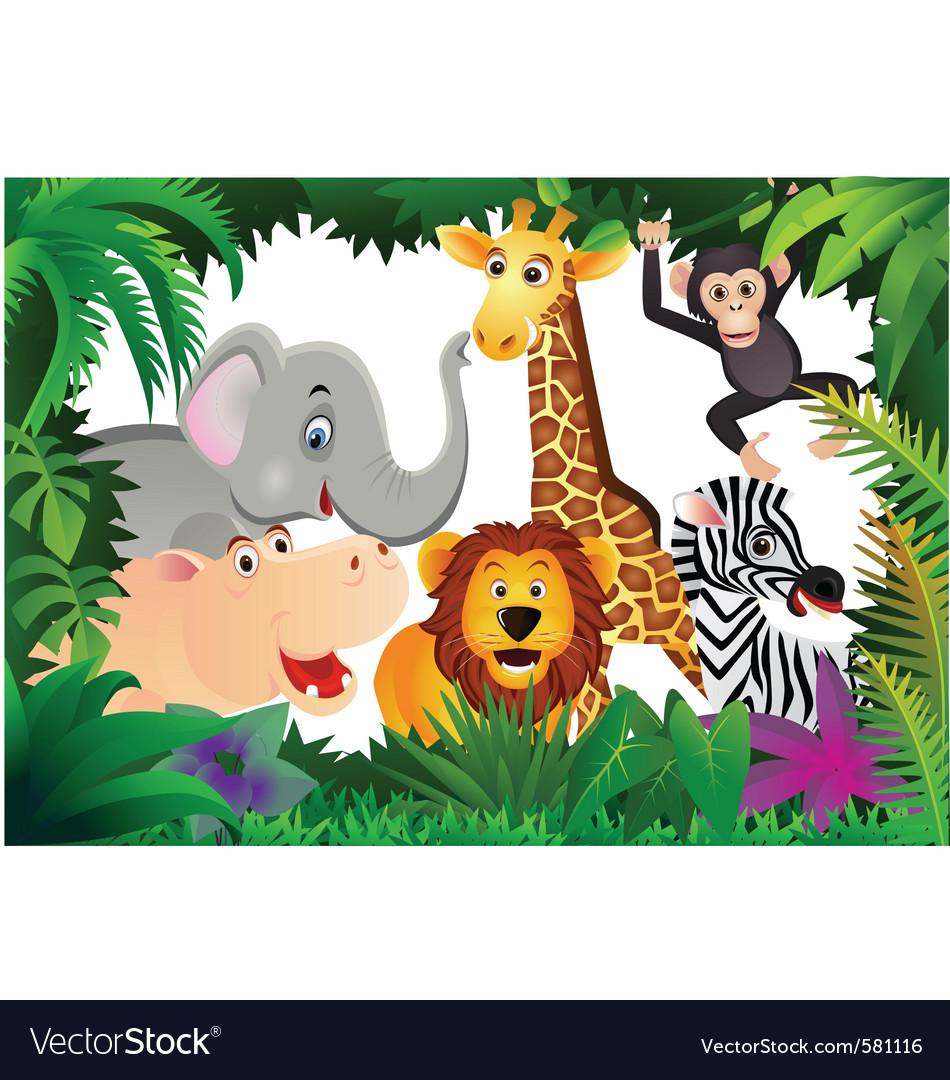 Safari Animal Cartoon Royalty Free Vector Image Vectorstock