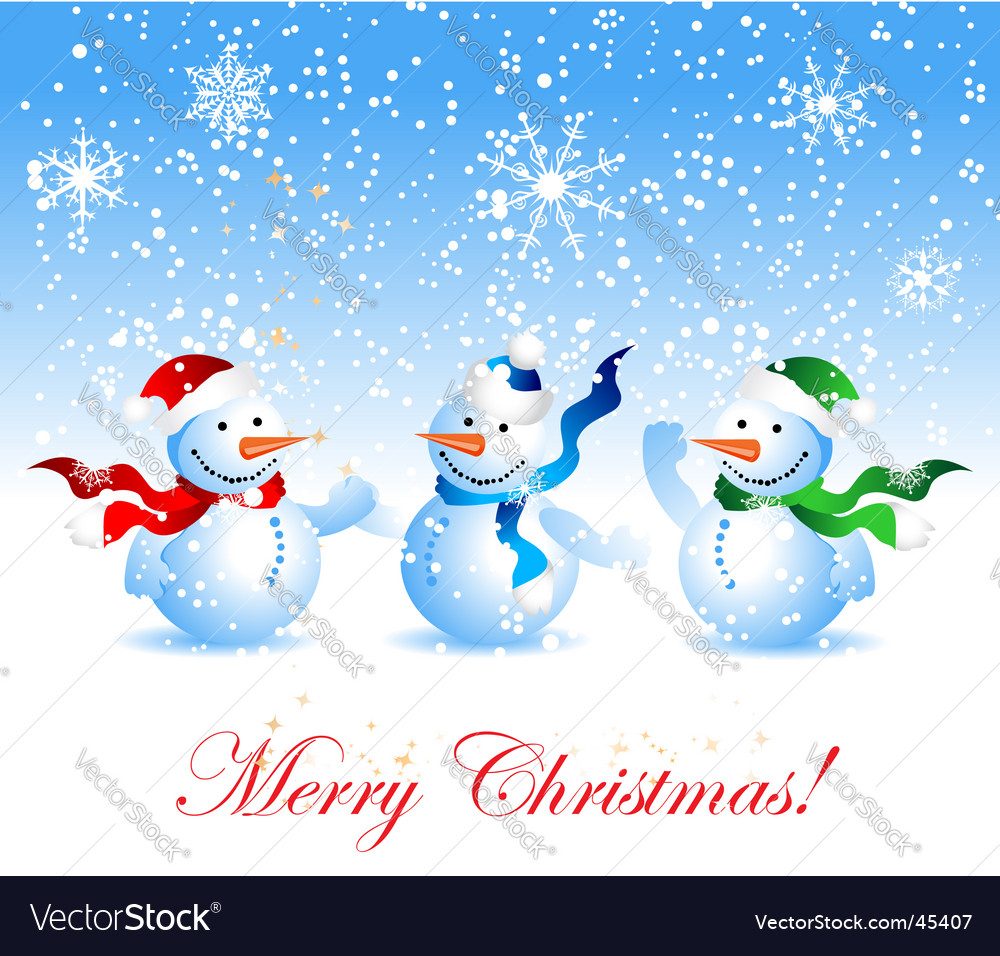 Christmas Card Snowman Royalty Free Vector Image