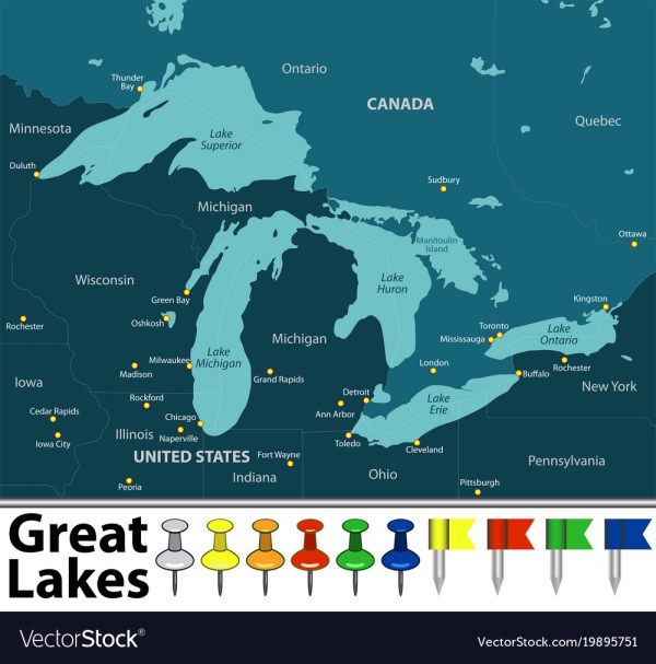 Map of great lakes Royalty Free Vector Image - VectorStock