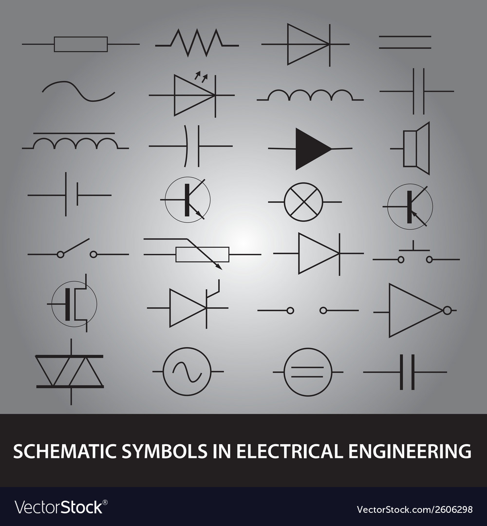 Schematic Symbols In Electrical Engineering Icon Vector Image