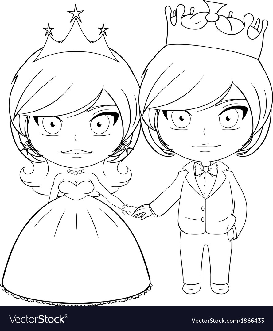Prince And Princess Coloring Page 3 Royalty Free Vector