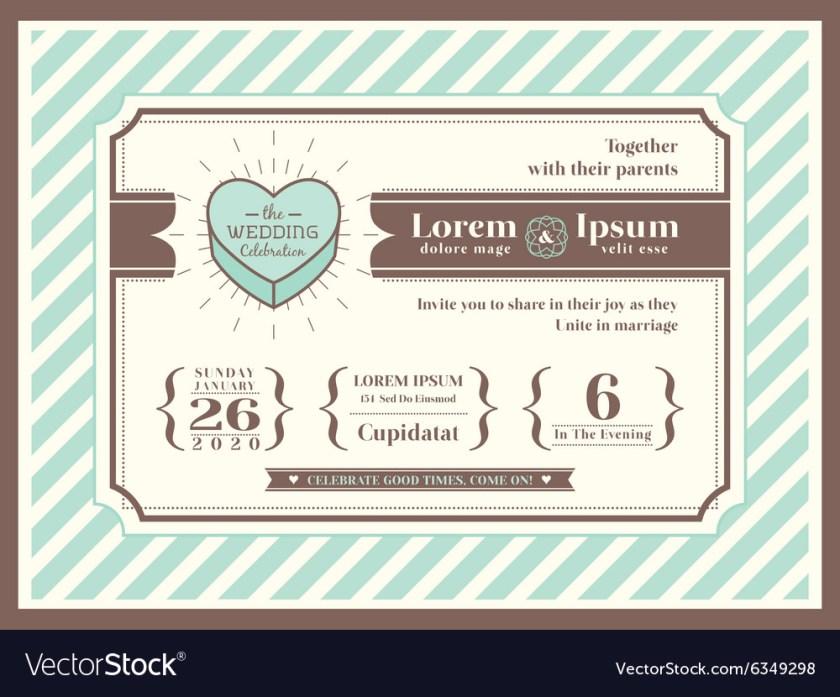 Vine Wedding Invitation Card Template Vector Image