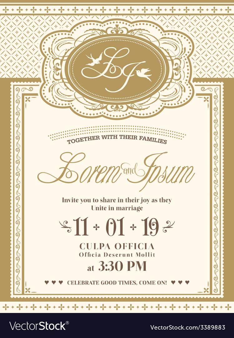 Vine Frame Wedding Invitation Card Background Vector Image