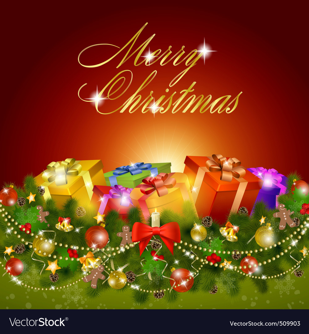 Merry Christmas Greeting Card Vector By Lamica Image