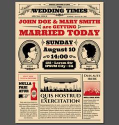 Vine Newspaper Front Page Wedding Invitation Vector Image