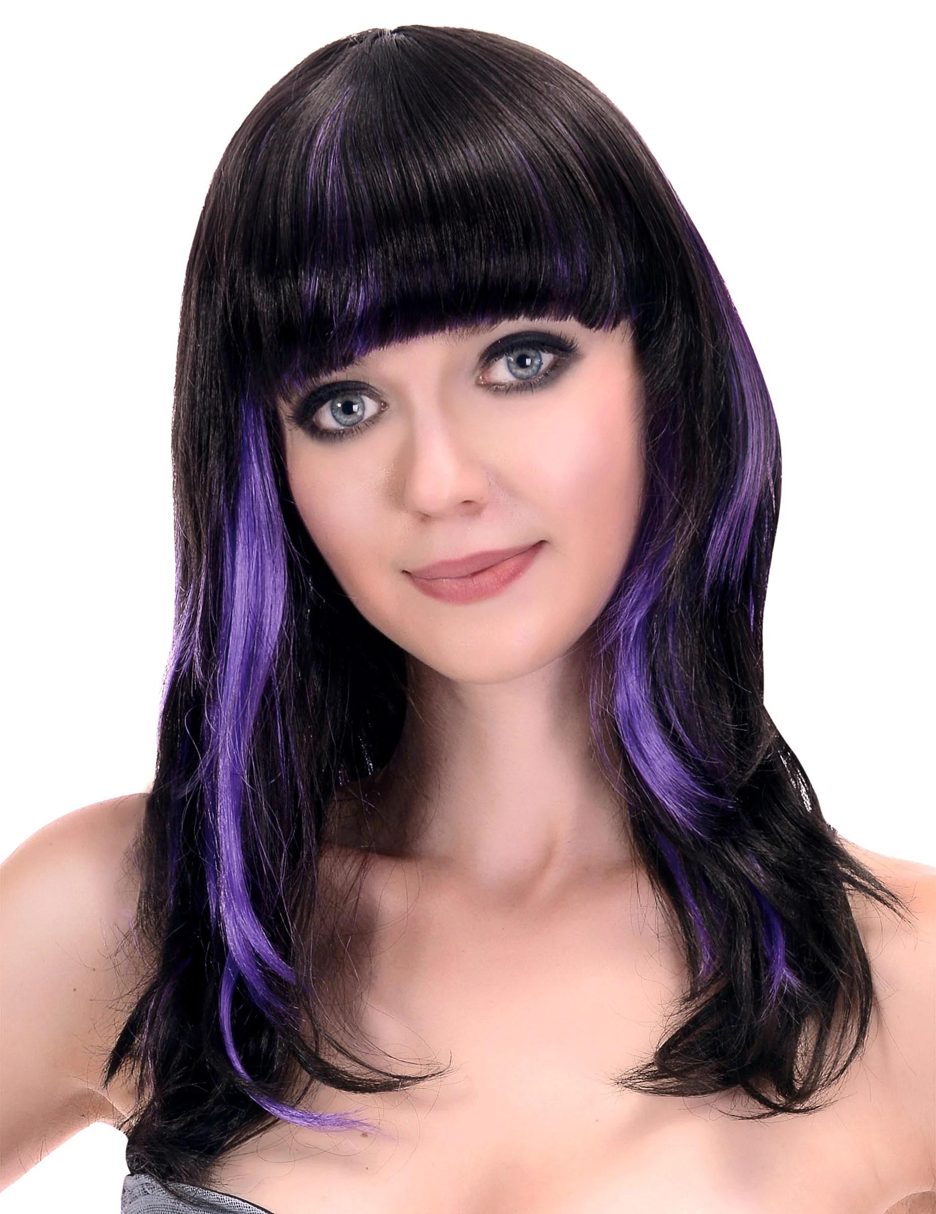Peluca Negra Flequillo Mechas Violeta Mujer Pelucasy
