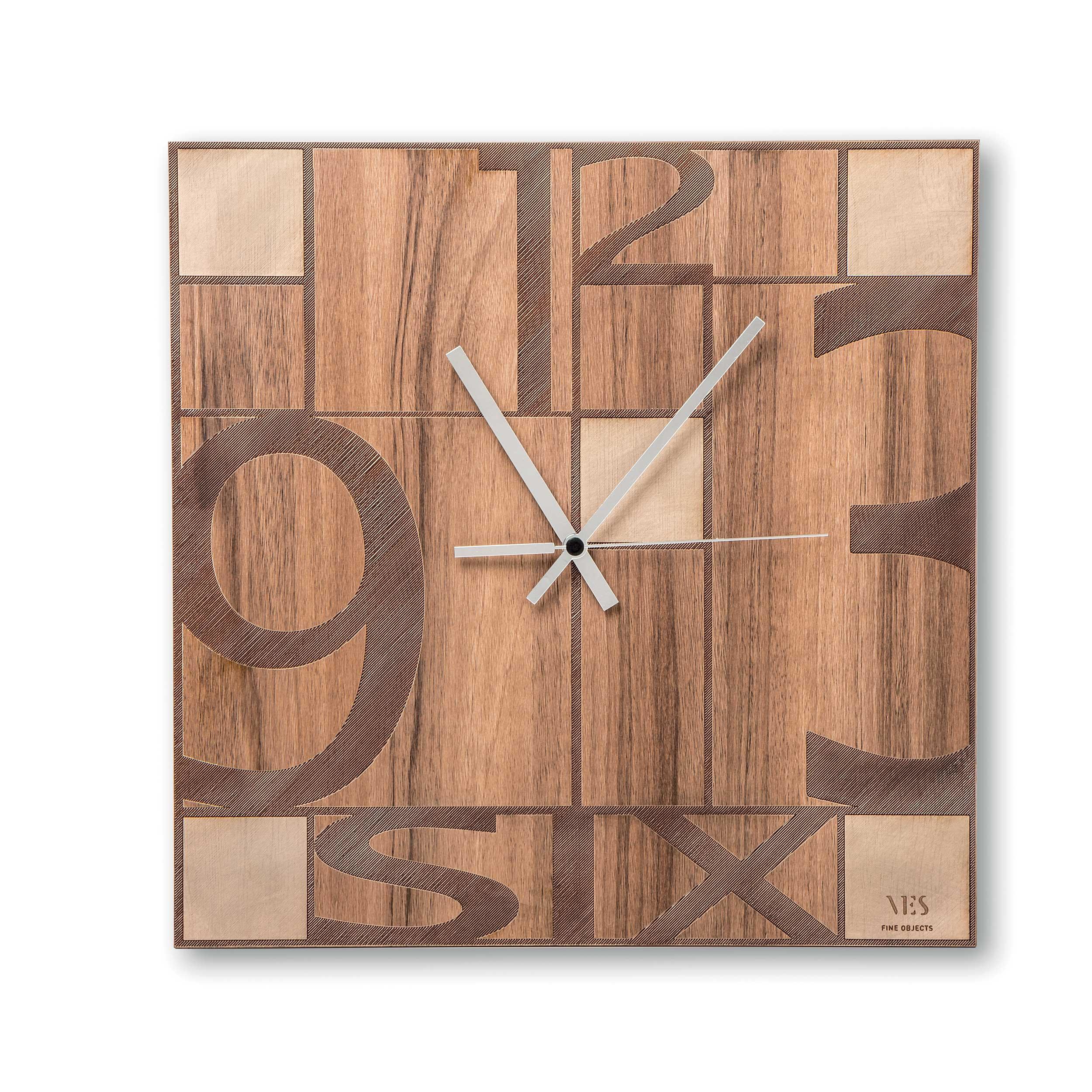 Scegliere il formato giusto per la tua atmosfera. Ves Design Orologio Da Parete In Legno Dal Design Moderno Per Salotto Mondrian